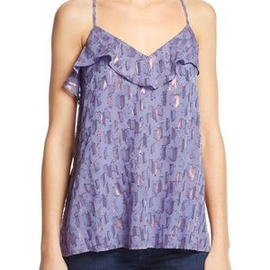 Anthropologie Metallic Holiday Tiered Camisole
